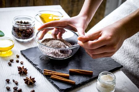 making organic scrub handmade at home with hands Foto de archivo