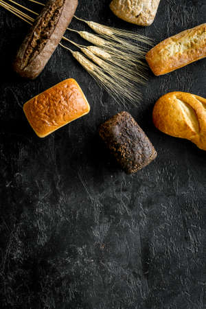 Set of loaves of bread on desk from above. 스톡 콘텐츠
