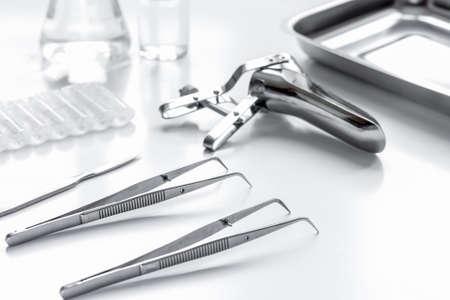 instruments of gynecologist on white background Stock fotó