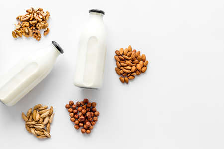 Dairy lactose free protein milk - drink with nuts and groats