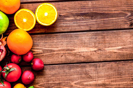 summer food with fresh fruits and vegetables top view space for text