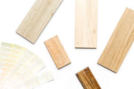Sample of wood and countertops samples for furniture design, top view Foto de archivo
