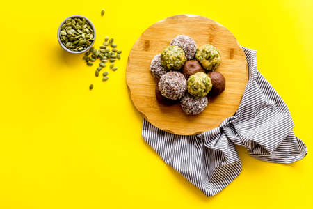 Overhead view of vegan energy protein balls with nuts Archivio Fotografico