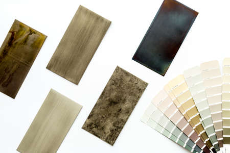 Choosing cabinet panel and countertop material with color scheme. Above view Archivio Fotografico