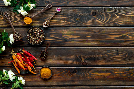 Layout of mixed hot spices and herbs, top view Archivio Fotografico