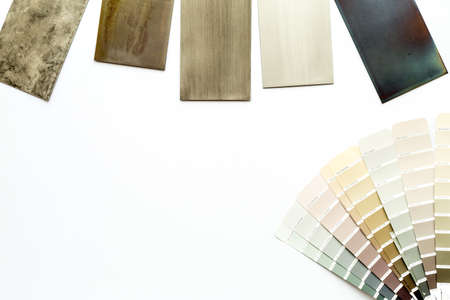 Sample of wood and countertops samples for furniture design, top view Archivio Fotografico