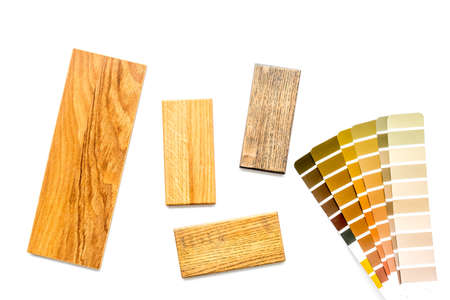 Wooden board floor and furniture samples with color scheme. Top view Archivio Fotografico