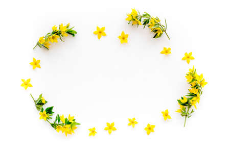 Happy Easter mockup - yellow flowers, flat lay, top view