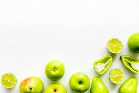 Green vegetables and fruits for detox and healthy vegetarians meal