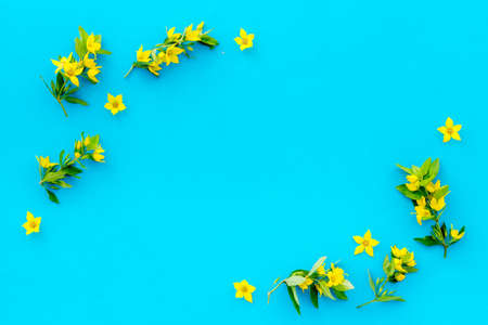 Wild spring flowers top view. Floral frame with space for text Stock fotó