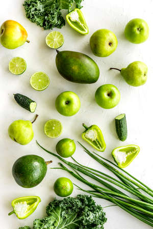 Variety of green fruits and vegetables for protein vegetarians meal