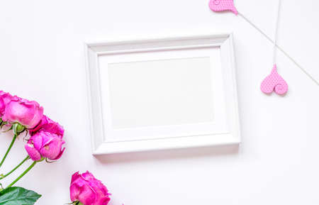 Spring design with peony flower and frame white background top view mock-up