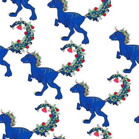 Seamless pattern with cute blue dinosaurs, for prints, designs. Vector illustration. Dinosaurs with a floral tail. Print for textiles, clothes, t-shirts, wrapping paper and more Çizim