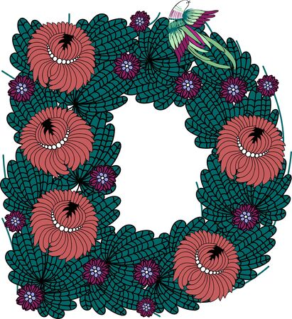 The flower letter D. Floral element of colorful alphabet in vector