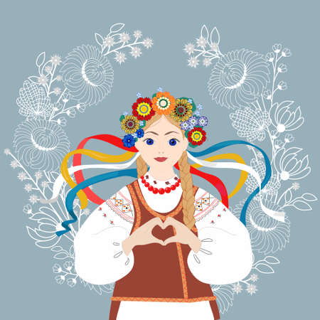 Blonde girl wearing national costume with hands folded in the form of a heart. Ukrainian girl in traditional clothes on a background of leaves and flowers. Vector illustration.