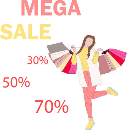 Happy girl goes for shopping. Mega sale. Boutique Sale. Woman shopping at a sale. Vector illustration in a flat style for design.
