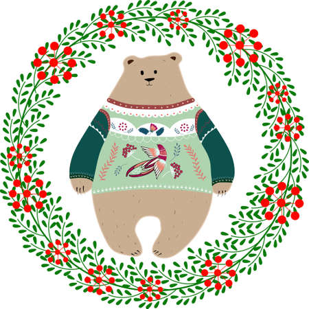 Beautiful vector Christmas illustration with cute Bear in sweater. Merry Christmas card with wreath. Stylish illustration.