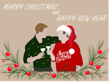 Merry Christmas and Happy New Year. Father and son drink champagne. Adult son with father and christmas tree with balls. Greeting card for dad with text. Family celebrating Christmas. Illusztráció