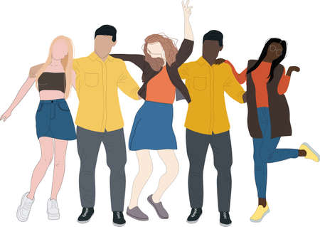 Group of multicultural students flat vector illustration. Young girls and boys characters on white background. Happy teenager in casual clothes. Youth lifestyle.