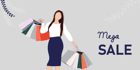 Big sale with woman for website banner or poster sale. Pastel color, vector illustration. Vector flat female character after successful shopping holding paper bag with purchases.