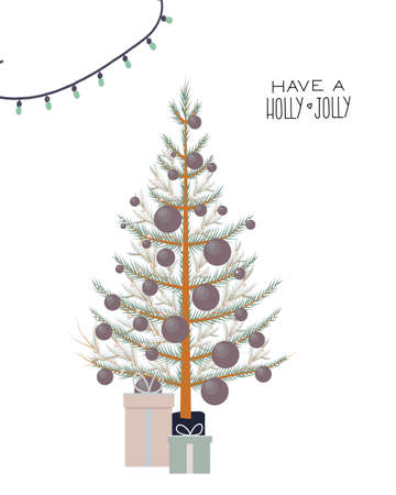 Greeting card with Christmas tree. Have a Holly Jolly. Minimalism style.