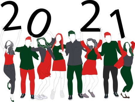 Nice beautiful attractive pretty winsome charming cheerful glad ladies and handsome gentlemen, chill out, raising hands up, holding shiny bright 2021 symbol