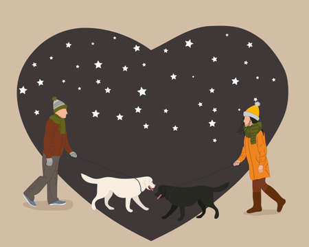 Illustration of a man and woman who fall in love at first glance. Greeting card. Peoples walk with dogs on the background of the heart.