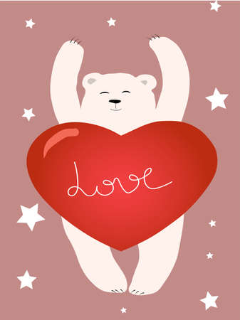 Polar bear with big heart. Cute greeting card.