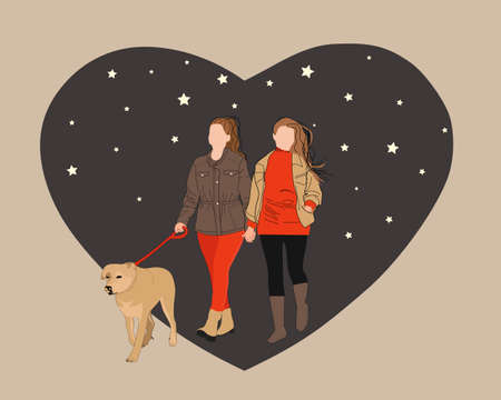 Homosexual female couple holding hands walking with dog vector flat illustration. Two women spending time together feeling love on background of the heart. Çizim