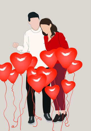 Happy young couple with decoration of heart shaped balloons. Valentine's day celebration