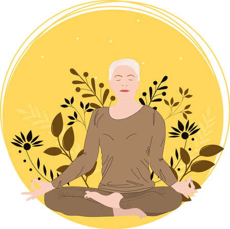 Senior woman meditates while sitting in the lotus position. Yoga for the elderly. Bright yellow floral background. Flat vector illustration. Illusztráció