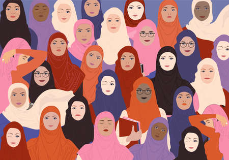 Female faces in hijab of different ethnics group. Structure of the movement for the empowerment of women. World hijab day. International womens day graphics in vector. Vector Illustration