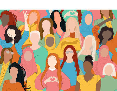 Female diverse faces of different ethnicity. Women empowerment movement pattern. International women's day graphic in vector in blue, yellow and green colors.