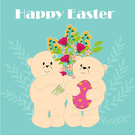 Easter greeting card. Cartoon bears with a bouquet of flowers and an Easter egg.