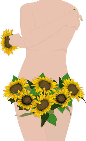 The female body. Beautiful girl with sunflowers. Gynecology and underwear, women's health. Women's diseases.