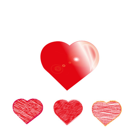 Red hearts in a set for special occasions and declarations of love