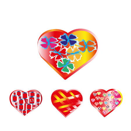 extraordinary: extraordinary set of colored hearts, valentines for registration, design and good mood Illustration