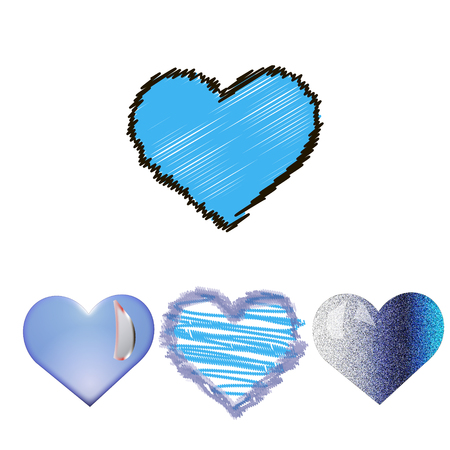 corazones azules: conjunto simple y romántica de corazones azules