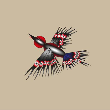variegated: Variegated bird flying on a light background Illustration
