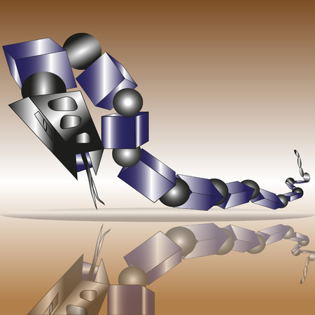 Techno illustration blue snake which consists of blocks of balls looks at his reflection Иллюстрация