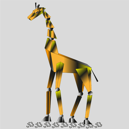 trapezium: Techno illustration of a giraffe is made up of spheres connected