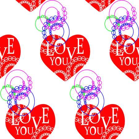 pattern on white background with red hearts and a ring with an inscription love