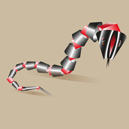 snake origami: red snake crawling out of the cones in the sand Illustration