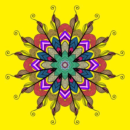 mandala: Mandala colorful illustration of feathers mandala dudling
