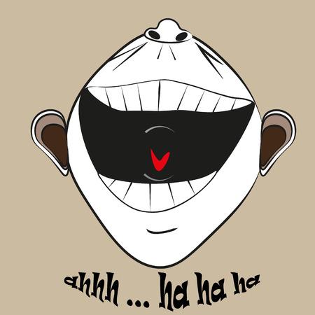 nostrils: Cheerful laughter emotion Illustration