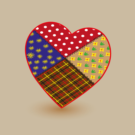 patchwork: Patchwork big heart illustration Illustration