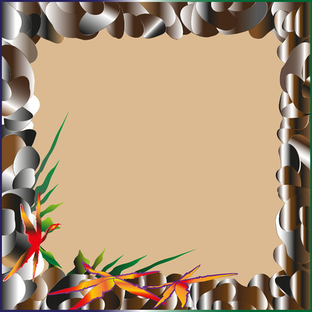 pebbles: Picture frame of sea pebbles on a sandy background with starfish and algae stones bright brown gray Illustration