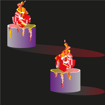 advent candles: Two candles illustration Illustration