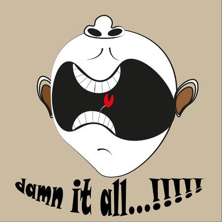 nostrils: Angry emotion cartoon