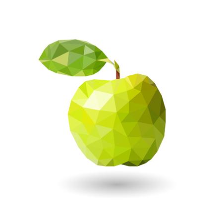 Apfel von Dreiecken Grüner Apfel mit einem Blatt von Dreiecken